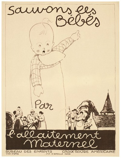 Let us save the babies, poster for breastfeeding, 1917.