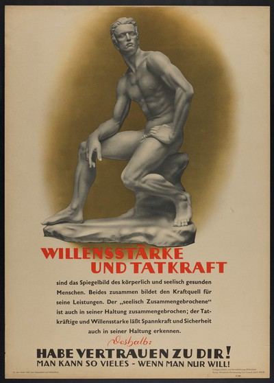 A sculpture of a naked young man seated, ca. 1930s.