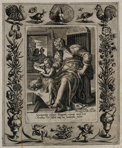 A female figure teaching an infant to read; representing grammar. Engraving by A. Vallée after M. de Vos.