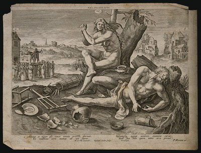 A woman prays as a man sleeps drunkenly on the ground; allegory of the melancholy temperament. Engraving by R. Sadeler after M. de Vos.