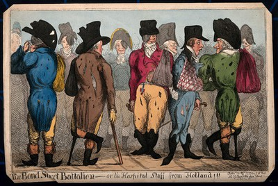 Town fops including L. Skeffington, J. Penn and Lord Kirkcudbright, feigning fashionable wounds after the return of the troops from Holland. Coloured etching by J. Cawse, 1799.