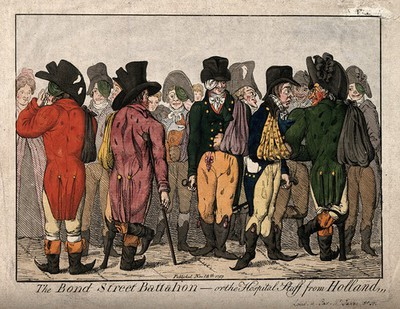 Town fops including L. Skeffington, J. Penn and Lord Kirkcudbright, feigning fashionable wounds after the return of the troops from Holland. Coloured etching after J. Cawse, 1799.
