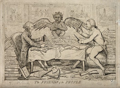 The republican solidarity of Joseph Priestley and Thomas Paine; indicated by the grinning devil that links them. Etching by I. Cruikshank, 1792.