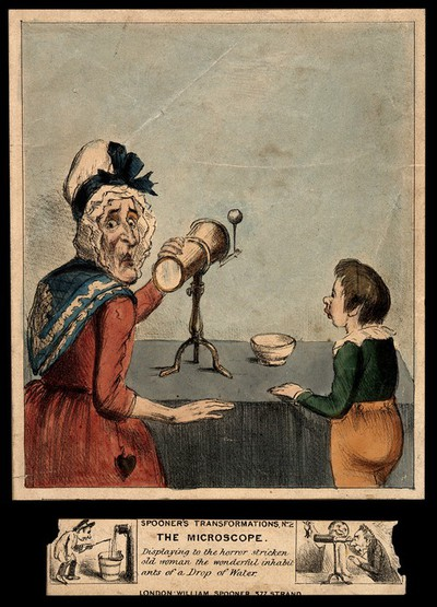 A horrified old woman observing the monstrous contents of a drop of water through a microscope. Coloured transparency lithograph.