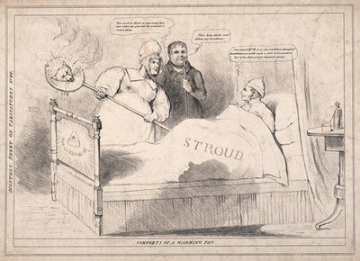 A sick man in bed, offered a bed-pan by his maid and advice by his physician; satirizing Lord John Russell given a seat at Stroud by Melbourne after his defeat in South Devon, looking for support to the radical Daniel O'Connell. Lithograph, 1835.