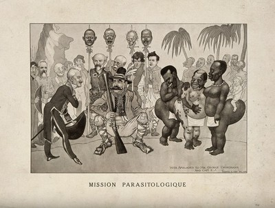 A hunter offering a French gentleman three 'hottentot' (steatopygous) women; representing L. Sambon and R. Blanchard at an Anglo-French tropical medicine conference. Reproduction of a drawing by M.S. Orr, 1913.
