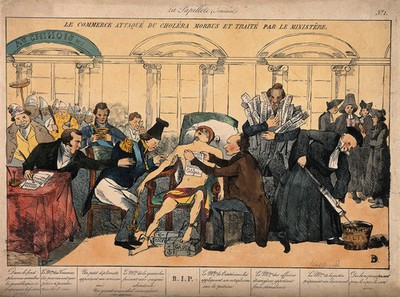 Mercury lies dying from cholera, surrounded by ministers; representing the sickly state of the French economy in the 1830's. Coloured etching, c. 1832.