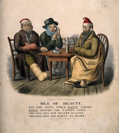 Three miserable men suffering from gout, toothache and flu sitting around a table. Coloured lithograph.