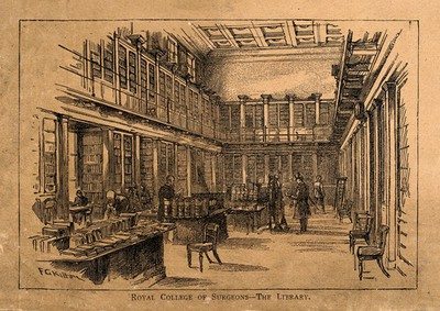 The Royal College of Surgeons, Lincoln's Inn Fields, London: the interior of the library. Wood engraving by F. G. Kitton after himself.