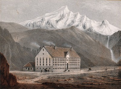 Hospital of Simplon and Monte Leone, Switzerland. Coloured lithograph by A. Cuvillier.