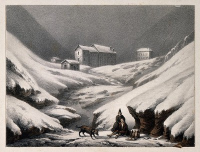 Convent of Great St. Bernard, Switzerland/Italy: a rescue dog finding a wounded traveller. Coloured lithograph by A. Cuvillier.