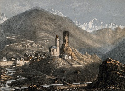 St. Gothard Hospital, St. Gothard, Switzerland. Coloured lithograph by A. Cuvillier.