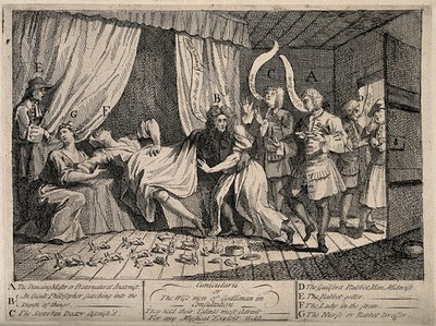 Mary Toft (Tofts) appearing to give birth to rabbits in the