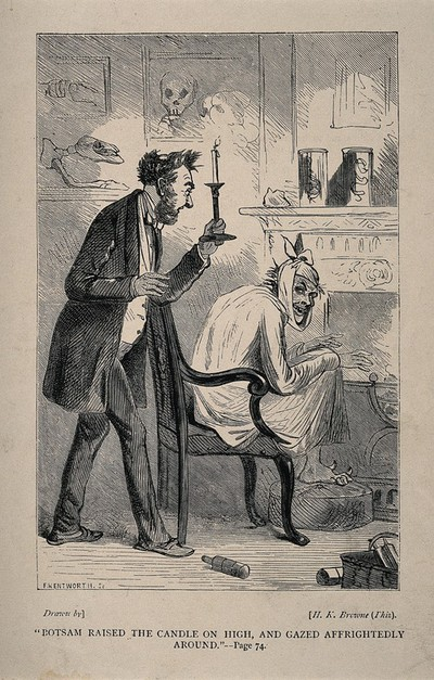A man with toothache sits in his nightgown, with a handkerchief around his face, in a surgery [?], and is discovered by