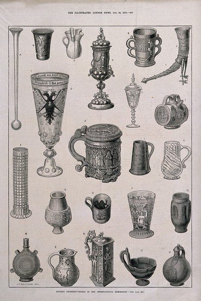 Twenty two ancient drinking vessels from an exhibition. Wood-engraving, c. 1873, after J. T. Balcomb.