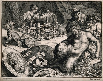 A bacchanalian scene with Pan sleeping and many drinking vessels left on a table. Etching by F. van den Wyngaerde after P. Rubens, mid 17th century.