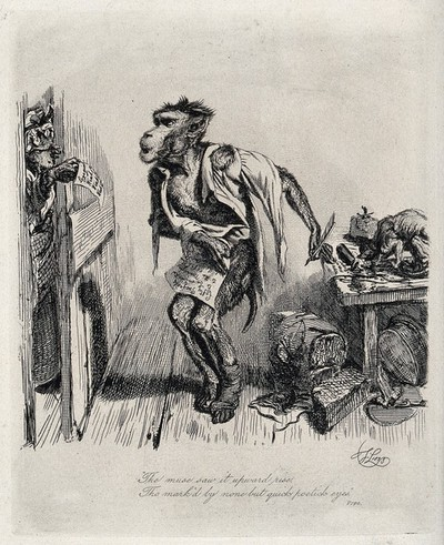 A monkey is quickly covering his nudity with a piece of paper as his landlady opens the door to present him with bills. Etching by T. Landseer.