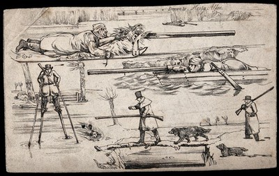Four different ways of dealing with water during a hunt: a hunter lying on ice, a hunter hiding in a boat, a hunter on stilts and a hunter using a pole as a bridge. Lithograph by H. Alken.