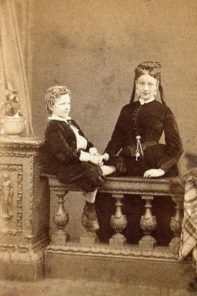Mrs Farrell & son. Photograph.