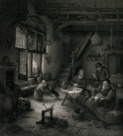 A family in a hovel with a woman tending a child, the men looking on and a child playing with a dog. Engraving.