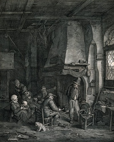 A family group in a hovel sitting around a fire with bread and meat on the table. Engraving by Cornelis de Visscher after A. van Ostade.