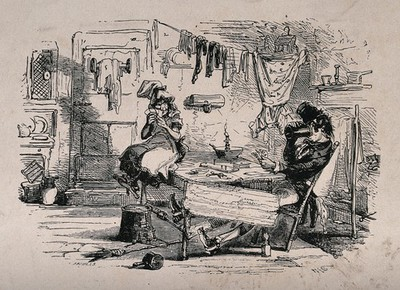 A couple sit in a hovel playing a card game, the man is drinking from a tankard and washing is hanging from a line stretched across the room. Etching.