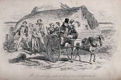 A family are leaving a seaside hovel in a pony and trap. Etching.