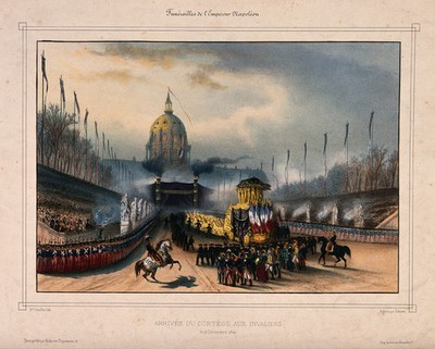 The funeral cortege for Napoleon Bonaparte arrives at the Domes des Invalides in Paris in 1840. Coloured lithograph by A. Cuvillier after P. F. Lehnert.