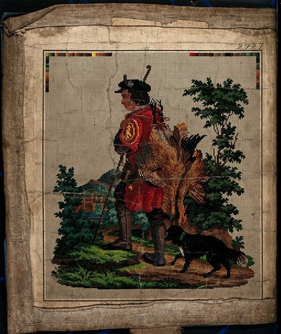 A hunter with his dog: template squared for copying in embroidery. Coloured engraving.
