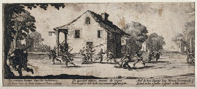 Soldiers looting and pillaging an inn in the countryside after they refused to pay for their board and lodging. Etching after Jacques Callot, ca. 1633.