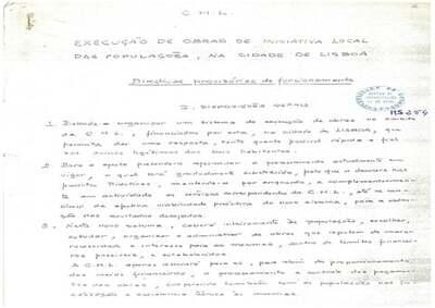 Execução de obras de iniciativa local das populações na cidade de Lisboa: Directivas provisórias de funcionamento