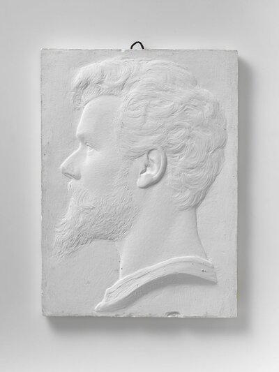 Zelfportret van Pier Pander en profile, naar links gericht.