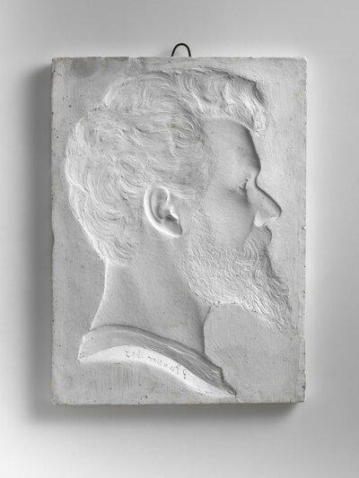 Zelfportret van Pier Pander, naar rechts gericht en profile.