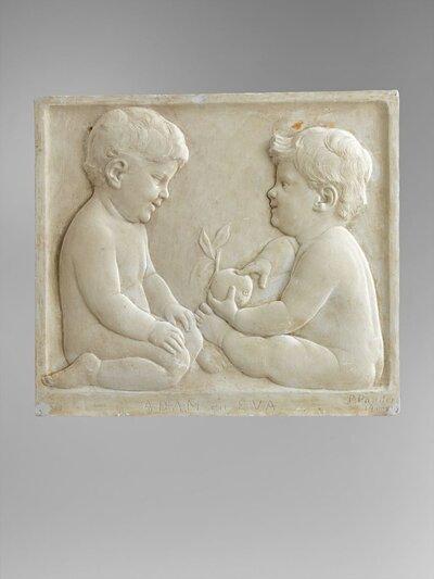 A) Twee naar elkaar toegezeten naakte babies, waarvan de rechter een appel vasthoudt. In de rand onderaan: ADAM EN EVA. B) Hetzelfde in negatief           (GKL001002127)