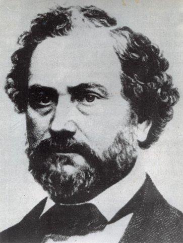 Portret van Samuel Colt, de uitvinder van de colt revolver