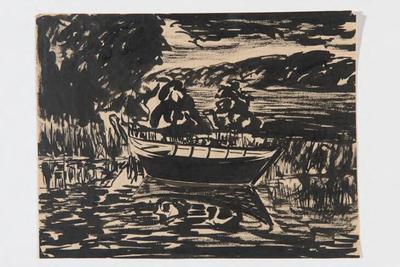 Rivierlandschap met bootje