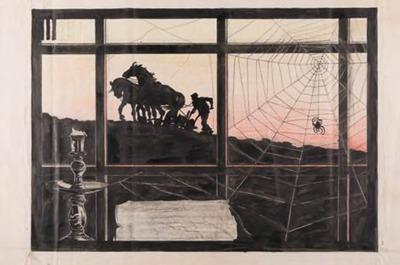 Ploegende boer gezien door raam