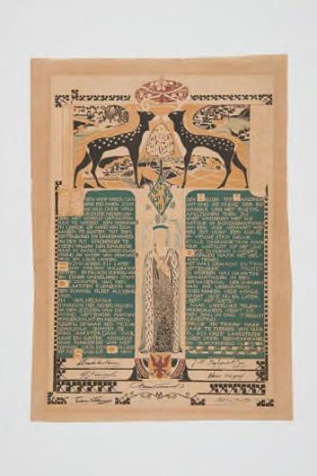 Oorkonde van de gemeente Apeldoorn voor huldiging van Koningin Wilhelmina in 1898