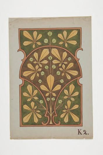 Ontwerptekening voor paneel met decor van kastanjebladeren (?)