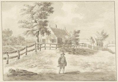 Huizen aan de Jan Gijzenvaart <br> tekening in Oost-Indische inkt