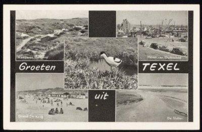 Linksboven: kamperen De Koog, linksonder: strand De Koog. Midden: een kluut. Rechtsboven: haven van Oudeschild, rechtsonder: De Slufter.