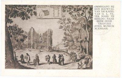 <i>OMMEGANG BIJ DEN BOUWVAL VAN DE KAPEL VAN O.L. VR. TER NOOD TE HEILOO: NAAR EENE OUDE GRAVURE (STED. MUSEUM ALKMAAR)</i>