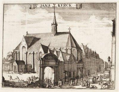 Gegevens cataloguskaartje: Ond.: Janskerk en Jansstraat vanuit het zuidoosten. Gezicht op de zuidzijde van de Janskerk met de tegen het koor gebouwde kosterswoning en de           Jansstraat. Opschr.: