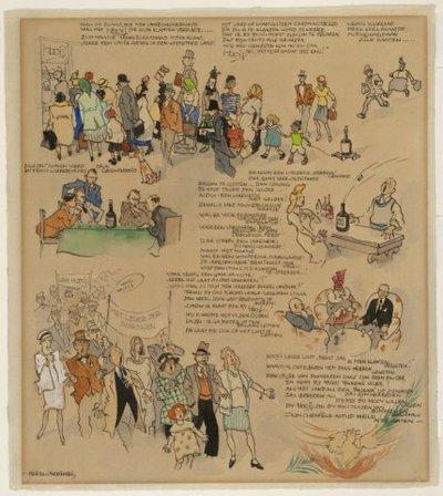 Karikaturale tekening met vele figuurtje bij de wijnhandel Hooij en uitgebreid gedicht.<br> In het gedicht wordt verhaald hoe in de bezettingstijd (1940-1945) de klanten           toch nog iedere maand een maatje jenever konden krijgen, genaamd 'Herbeux', en kersenlikeur.<br> Pen in zwart penseel in kleuren, gesigneerd.