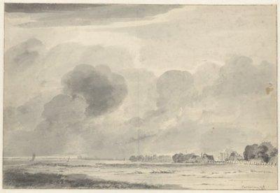 Gezicht op het Haarlemmermeer met rechts Huis Zwanenburg en links aan de horizon de oostzijde van Haarlem. <br> tekening in Oost-Indische inkt <br> gesigneerd           rechtsonder