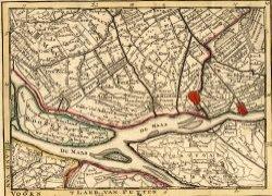Kaart van het zuidelijk deel van het waterschap Delfland, van Rozenburg en van delen van Voorne en van Putten. Vervaardigd ca. 1740. Aankoopnr. 68.