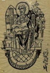 Centraal afgebeeld een heilige met een liedboek. Titel: