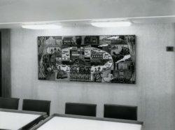 Ook aan de 'aankleding' van de openbare ruimtes op de veerboot 'Free Enterprise III' (Co. 538) had men de nodige aandacht besteed, getuige het kunstwerk aan de           wand.