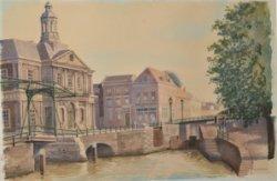 Gezicht op de Nieuwe- of Beurssluis, de beursbrug en, links, de Korenbeurs en het begin van de Dam. Aquarel door Nico van Welzenes.