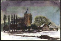 Gezicht op de Dorpskerk van Kethel vanuit het noorden. Aquarel van de hand van G.P. (Peet) Wattez (1913-1973).